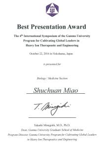 Miao award of the 4th internaional symposium